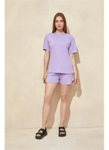 Setre Mor Basic T-Shirt Şort Takım Mor
